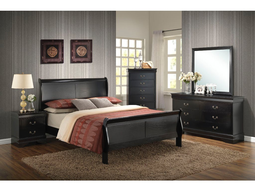 6 Pc Black Wood Bedroom Set